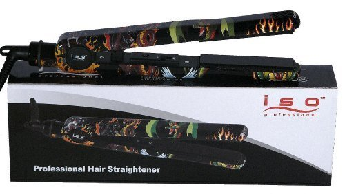ISO PROFESSIONAL Turbo Tattoo Hair Straightening Iron (Black with Dragon design) by ISO Beauty