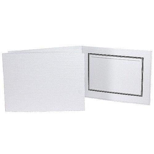 White Cardboard Event Photo Folder with Black foil Border Sold in 25s - 8x10