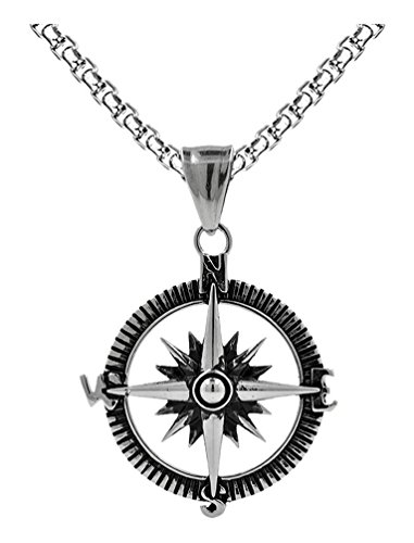 Censtusllery Men Punk Titanium Steel Compass Pendant Necklace(White)