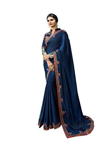 Delisa Fashion Indian Ethnic Bollywood Saree .Party Wear Saree,Pakistani Designer Sari Wedding, Saree for Womens (Blue-2)