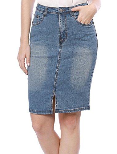 Allegra K Women's Split Trim Washed Denim Pencil Skirt L Light Blue (Skirt Denim Split)