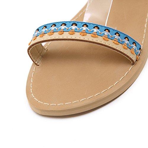 Color Beige ZHZNVX Punta Abierta Zapatos nuevos de Verano Borla de Planos Bola de Sandalias Retro Palabra Planas 39 Zapatos Zapatos qUqY1