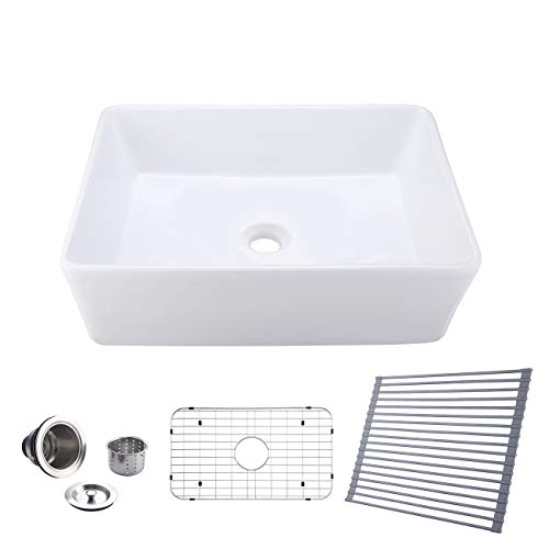 KES Kitchen Sink 30 Inch Farmhouse Undermount Rectangular Porcelain White Sink Combo with Roll up Dish Dying Rack,SUS304 Stainless Steel Bottom Grid & Drain Strainer, BVS117-C3