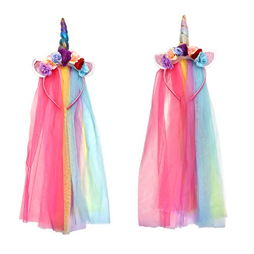 M-Aimee 2 Pieces Rainbow Unicorn Headband With Tulle Mane Featuring A Rainbow Horn for Girls Teens Toddlers Children Party Hairbands ()