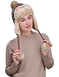 Warm Women Knit Peruvian Beanie Wool Hat Winter Ski Cap with Ear Flaps