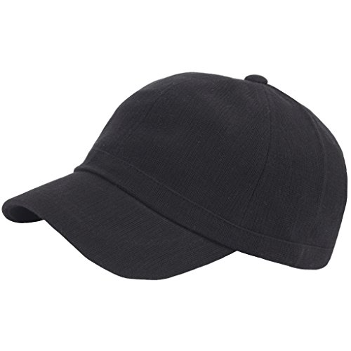 RaOn B382 Ball Cap Plain Empty Short Bill Design Baseball Hat Truckers (Black)
