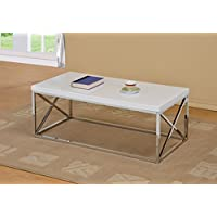 Chrome Metal Wood Cocktail Coffee Table, White