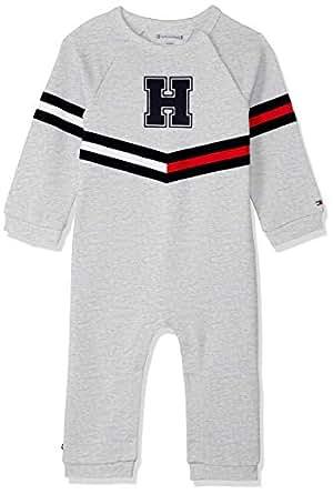 TOMMY HILFIGER Baby Baby Stripe Print Cotton Footless Bodysuit, Grey Heather, 0-3M