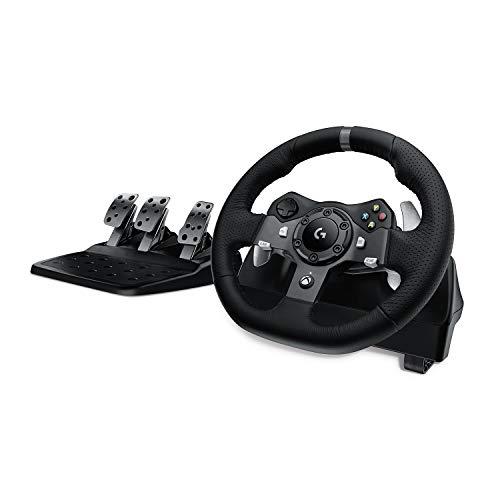 Logitech G920 Driving Force Volante de Carreras y Pedales, Force Feedback, Aluminio Anodizado, Palancas de cambio, Volante de Cuero, Pedales Ajustables, Enchufe EU, Xbox One/PC/Mac, Negro