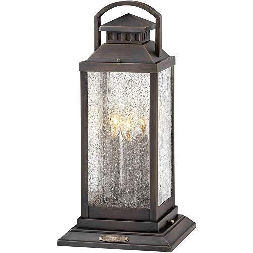 Hinkley 1187BLB Revere - Three Light Outdoor Medium Pier Mount, Blackened Brass Finish with Clear Seedy Glass