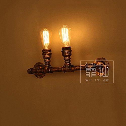 Crayom Loft Retro Iron Steampunk Wall Light Hotel Corridor Art Creative Lighting American Industrial Vintage Club Double Head Pipe Wall Lamp Barn Warehouse Lantern Spotlight E27 ()