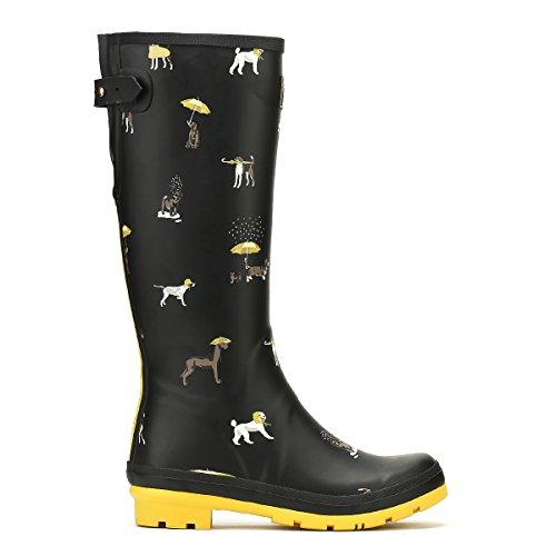 Joules Mujeres Welly Print Rain Bota Black Raining Dogs