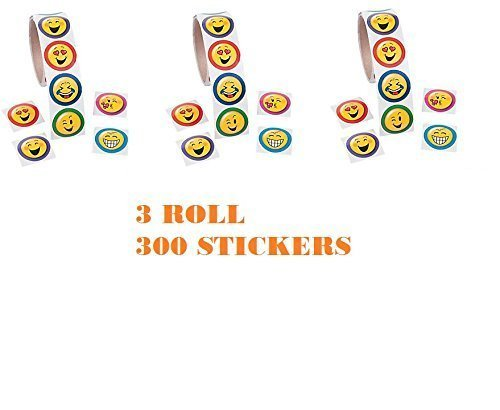 (300) EMOJI Stickers ~ 3 Rolls of Emoji Fun ~ Favor Birthday Teacher Fall Fairs Prize ~ Easter Basket Filler ~ Camps Prize ~ Doctor Dentist Prize Chest ~ (Best Toto Party Bag Fillers)