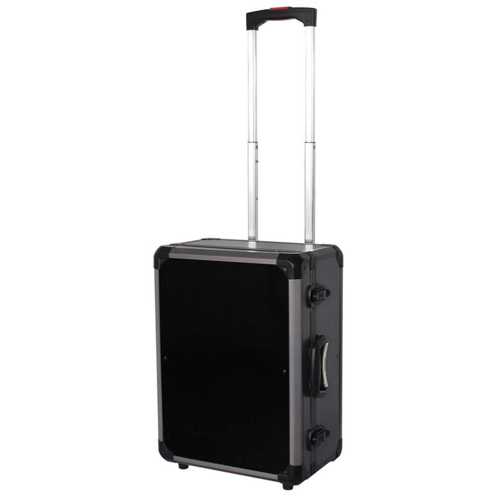 トロリーツールボックス、ホームキャンプの写真撮影のスーツケース、指向性ホイールアルミフライトケース、計器ケース、 - ブラック-black B07TLR25J4 black