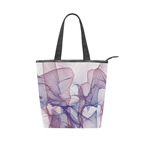 Canvas with Leather Tote Bag Americana Modern Abstract Design Smoke Flag Shoulder Bags zipper Handbag with Handles for - Binder Americana Leather