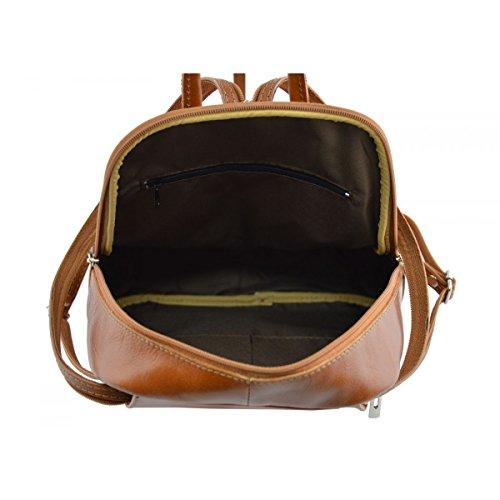 aecde15730758 ... Echtes Leder Rucksack Farbe Cognac - Italienische Lederwaren - Rucksack
