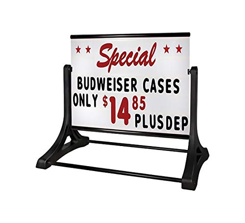 Swinger Roadside Deluxe Message Board, Changeable Message Sidewalk Sign with Letter Kit, Changing Letter Outdoor Curb Sidewalk Sign, 48