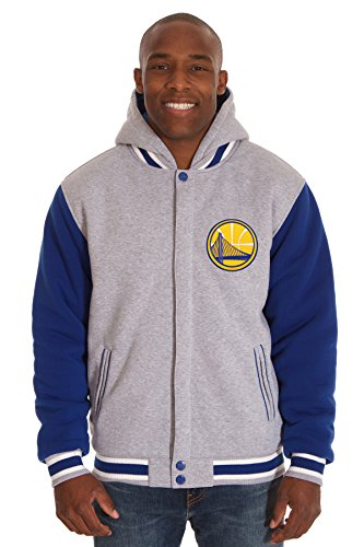 NBA Mens Reversible Fleece Hoodie Available in all 30 Teams! (Warriors-Gray/Royal, 3X)