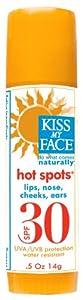 Kiss My Face Organic Hot Spots Natural Sunscreen Stick, SPF 30 Sunblock, 0.5 Ounce Stick