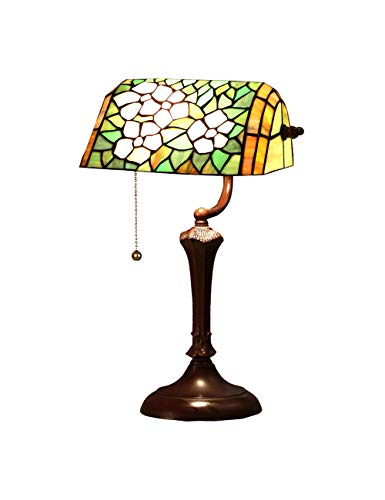 (Zloader Table Lamp Floral Stained Glass Banker Table Lamp)