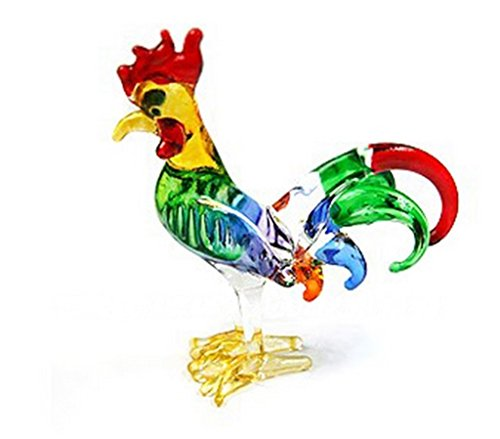 Miniature Hand Blown Art Glass Rooster Size S Figurine Collection