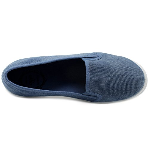 Canvas Women's Ollio Blue Flats Casual Slip Sneakers Denim Shoes On vTqYFT