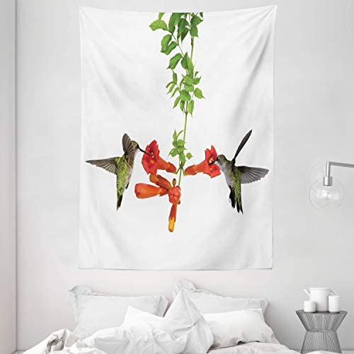 Ambesonne Hummingbirds Tapestry, 2 Hummingbirds Sipping Nectar from a Trumpet Vine Blossoms Summertime, Wall Hanging for Bedroom Living Room Dorm, 60 X 80 , Red Black Green