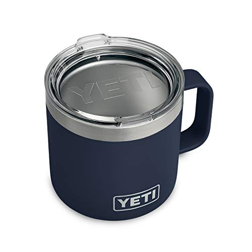 YETI Rambler 14 oz Stainless Steel Vacuum Insulated Mug with Lid, Navy (Handle Mugs 20 Soup With Oz)