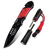 Pocket Knife & Fire Starter Set, 5 in 1 Stainless Steel Tactical Folding