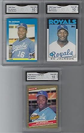 Amazoncom Bo Jackson 3 Card Baseball Rookie Lot Topps Fleer