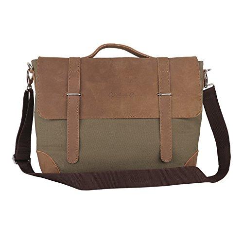 Almolfa Leather Canvas 15 #34; Laptop Messenger Bag  Military Green