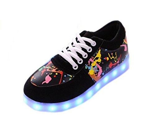 (Present:kleines Handtuch)JUNGLEST 8 Farben LED Leuchtend Aufladen USB Aufladen Sport Schuhe Paare Schuhe Herbst und Winter Sport Schuhe Freizeitschuhe Leucht Laufende Unis Schwarz