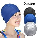 EWIN(R) 3pcs Lycra swimsuit cloth pure color swimming cap/swim cap/swimming hat for adult men women