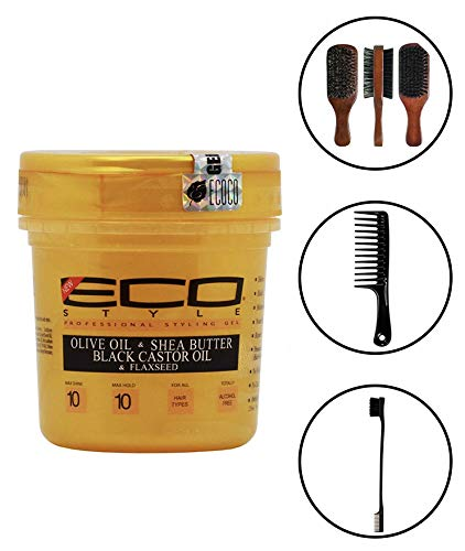 Eco Style Gold - Olive Oil, Shea Butter and Black Castor & Flaxseed Oil Gel 8oz (Including Double Sided Edge Control Hair Brush, Detangling Wide Tooth Comb Set & 100% Boar 2-Sided Club Brush) (Best Eco Styler Gel For Edges)