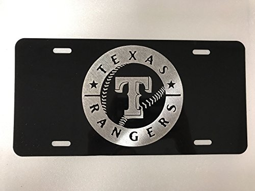 (Diamond Etched Texas Rangers 2 Logo Car Tag on Black Aluminum License Plate)