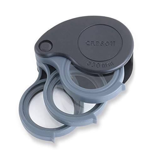 Carson TriView 5x/10x/15x Folding Loupe Magnifier with Built-in Case (TV-15) ()