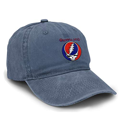 LicShoow Grateful Dead Steal Your Face Unisex Vintage Washed Distressed Baseball-Cap Twill Adjustable Dad-Hat Navy