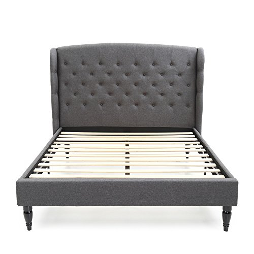 DeCoro Brighton Upholstered Platform Bed | Headboard and Wood Frame with Wood Slat Support | Grey, Queen by DeCoro