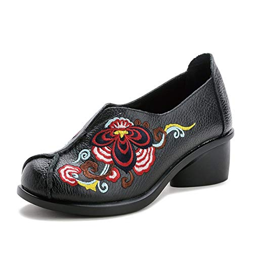 Soft And Six Black Spring And Comfortable Flowers Leather Thirty Shoes Shoes Mother'S Real KPHY Shoes Embroidery Women'S Middle Wild Bottom Autumn qpwBv