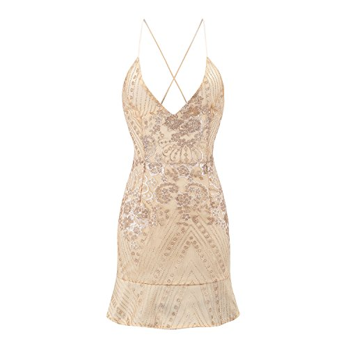 JIALELE Vestido Fiesta Mujer,De Fiesta,Vestidos Para Mujer Sequined Dress Profunda V Collar Bordado Posterior Vendaje Golden