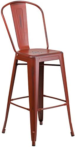 Flash Furniture Commercial Grade 30″ High Distressed Kelly Red Metal Indoor-Outdoor Barstool