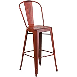 Flash Furniture 30'' High Distressed Kelly Red Metal Indoor-Outdoor Barstool with Back