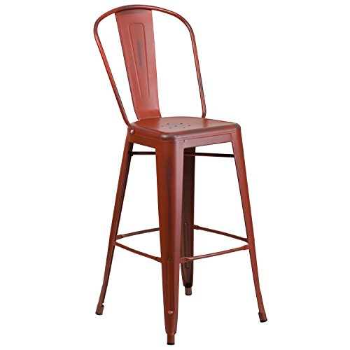 - Flash Furniture 30'' High Distressed Kelly Red Metal Indoor-Outdoor Barstool with Back