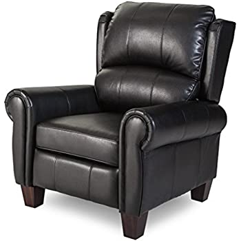 amazon com push back style wingback leather recliner for any living rh amazon com black leather recliner with ottoman black leather recliner lazy boy