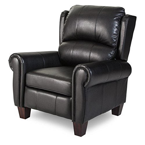 Push Back Style Wingback Leather Recliner For Any Living Room Decor. This  Recliner Is Made With An Luxurious Black Leather Upholstery.