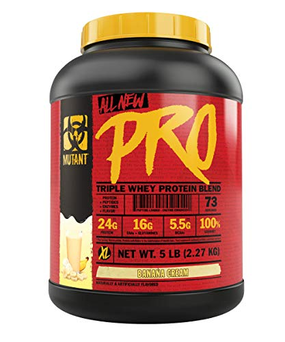 Mutant Pro – Triple Whey Protein Powder Supplement, Time-Released for Enhanced Amino Acid Absorption, Decadent Gourmet Flavors, 5lb - Banana Cream - Cream Pie Powder Protein Banana