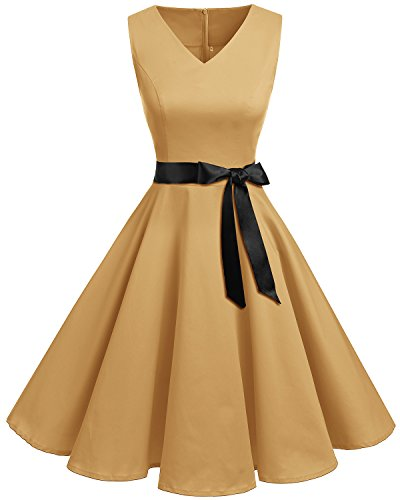 Bridesmay Women's V-Neck Audrey Hepburn 50s Vintage Elegant Floral Rockabilly Swing Cocktail Party Dress Sandy Brown 3XL