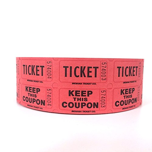 Red Double Raffle Ticket Roll, 2000/roll (Tear Opening Strip)