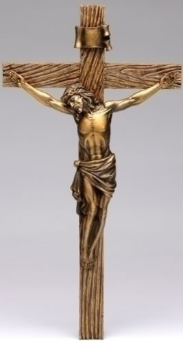 (Roman Jesus Christ Nailed to Crucifix Bronze 13 Inch Resin Stone Wall Cross)