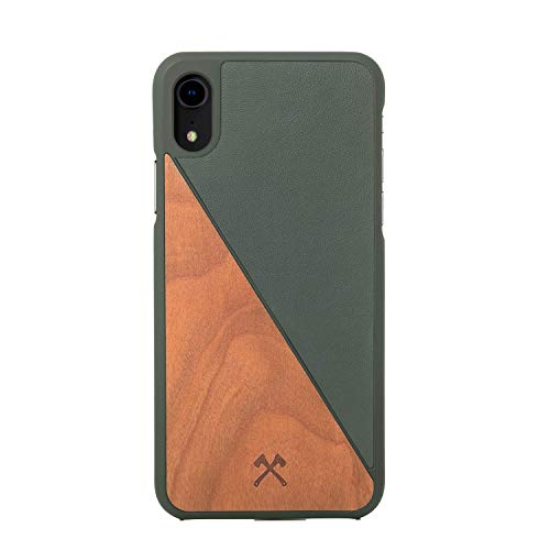 Woodcessories - Case Compatible with iPhone Xr, Made of Real Wood, EcoCase Split (Cherry/Green)